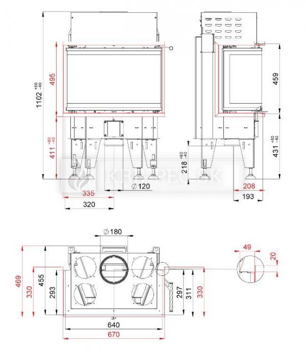BeF Therm 6 C dizajnová, luxusná krbová vložka s otváraním do boku krb-pec