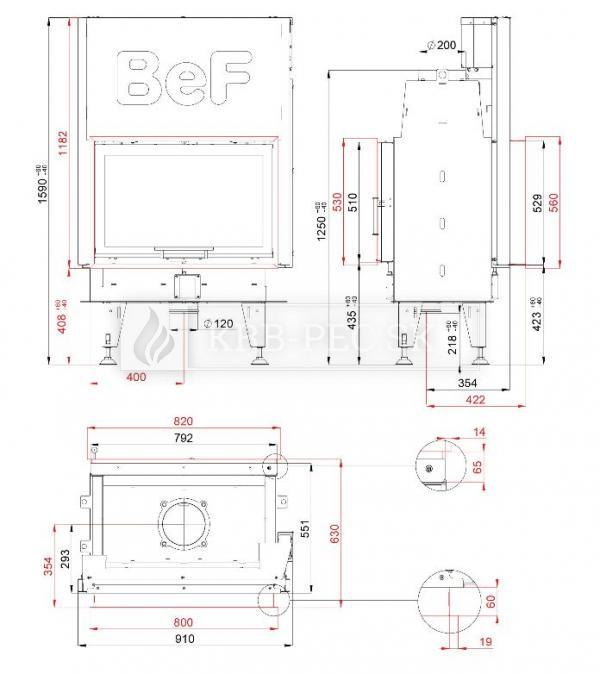 BeF Twin V 8 N II obojstranná krbová vložka s výsuvnými dvierkami krb-pec