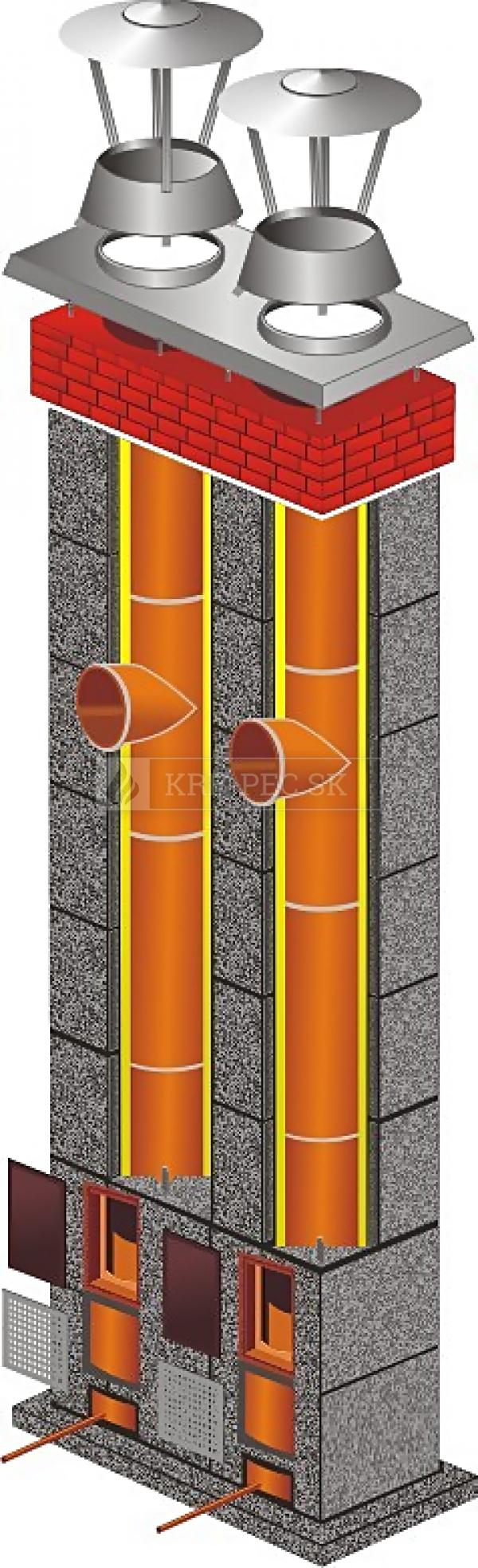 Stadreko - Dvojprieduchový komínový systém z prefabrikovaných tvárnic s vatou Ø 200 / Ø 200 krb-pec
