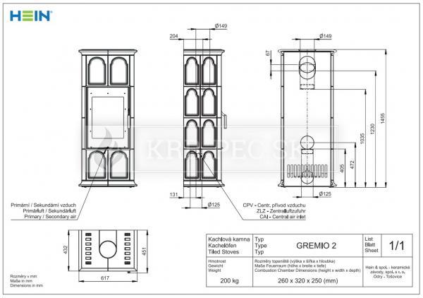 Hein Gremio 2 klasické keramické kachle krb-pec