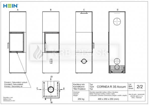 Hein CORNEA R 3S Accum keramické kachle krb-pec