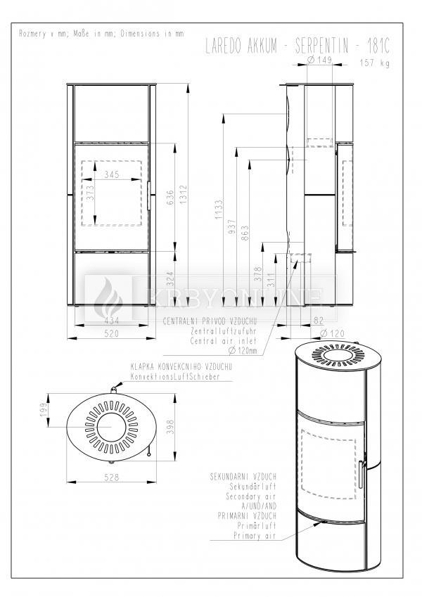 Romotop LAREDO 02 AKUM mastenec, akumulačné, designové, kvalitné, oceľové krbové kachle  krbyonline