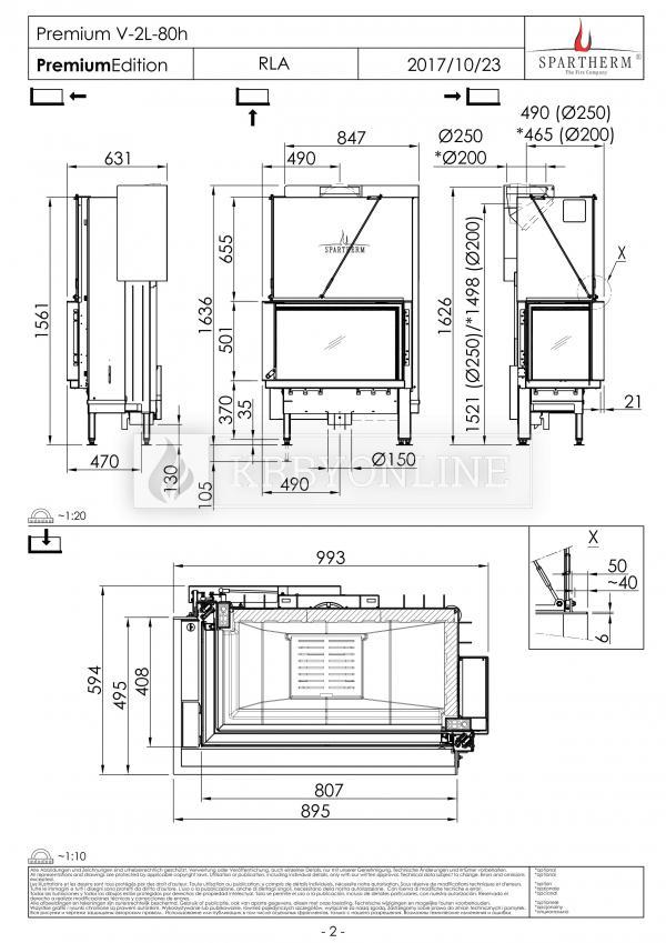 Spartherm Premium V 2LR 80h  rohová oceľová krbová vložka s výsuvnými dvierkami krbyonline