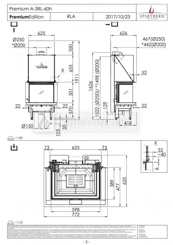 Spartherm Premium A 3RL 60h trojstranná oceľová krbová vložka s bezrámovými výsuvnými dvierkami krbyonline