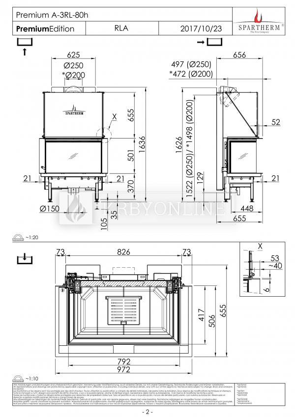 Spartherm Premium A 3RL 80h trojstranná oceľová krbová vložka s bezrámovými výsuvnými dvierkami krbyonline